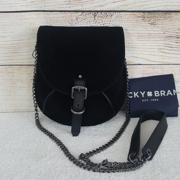 New Lucky Brand Maya Black Leather Crossbody Bag aca628ef7a31e